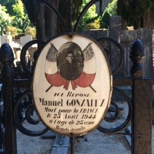 Cemetery plaque for Manuel Gonzalez died 1944
