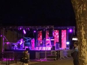 Pink stage lighting
